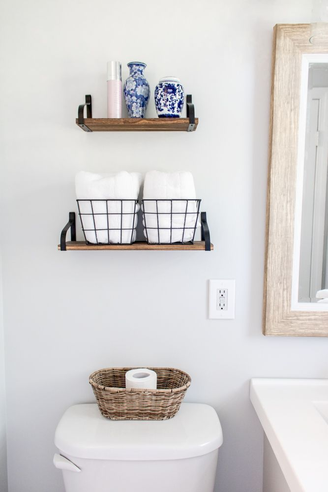 Floating Shelves Above Toilet with Wire Baskets and Ginger Jars  Small Bathroom   – Bathroom Shelving