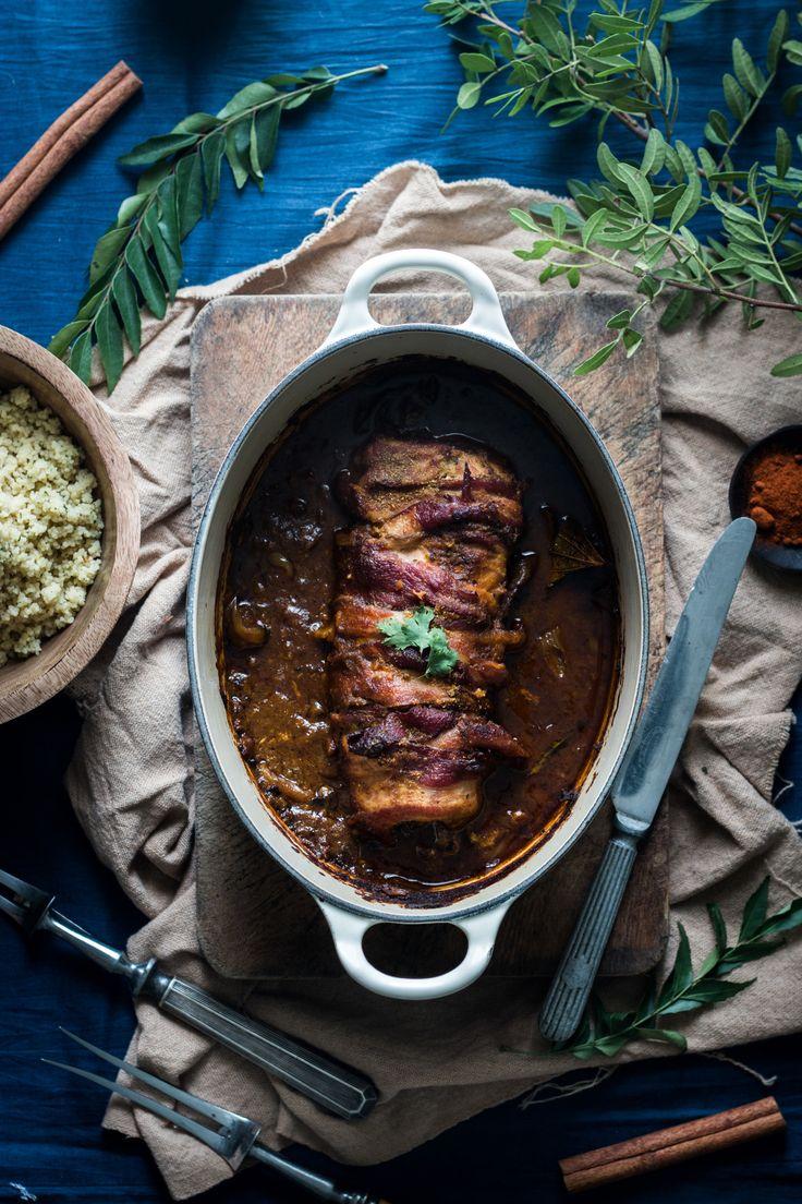 A bacon-wrapped pork tenderloin in Le Creuset Dutch Oven - from XLBCR
