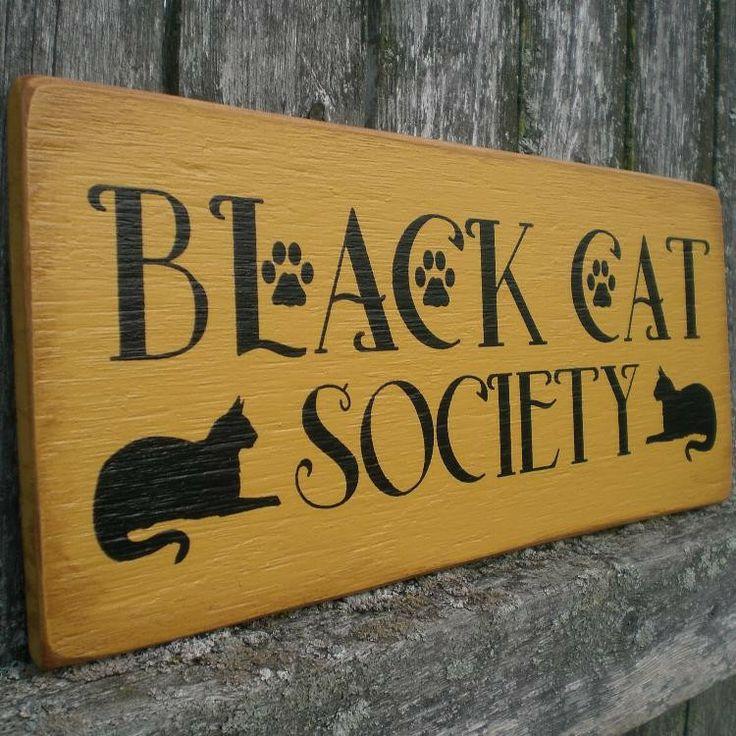 Primitive+Wood+Signs | Primitive Wood Sign Black Cat Society by scaredycatprimitives