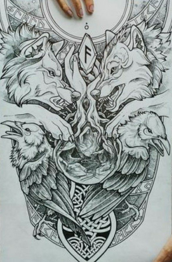 Odin S Ravens And Wolves Viking Tattoos Norse Tattoo Norse Mythology Tattoo