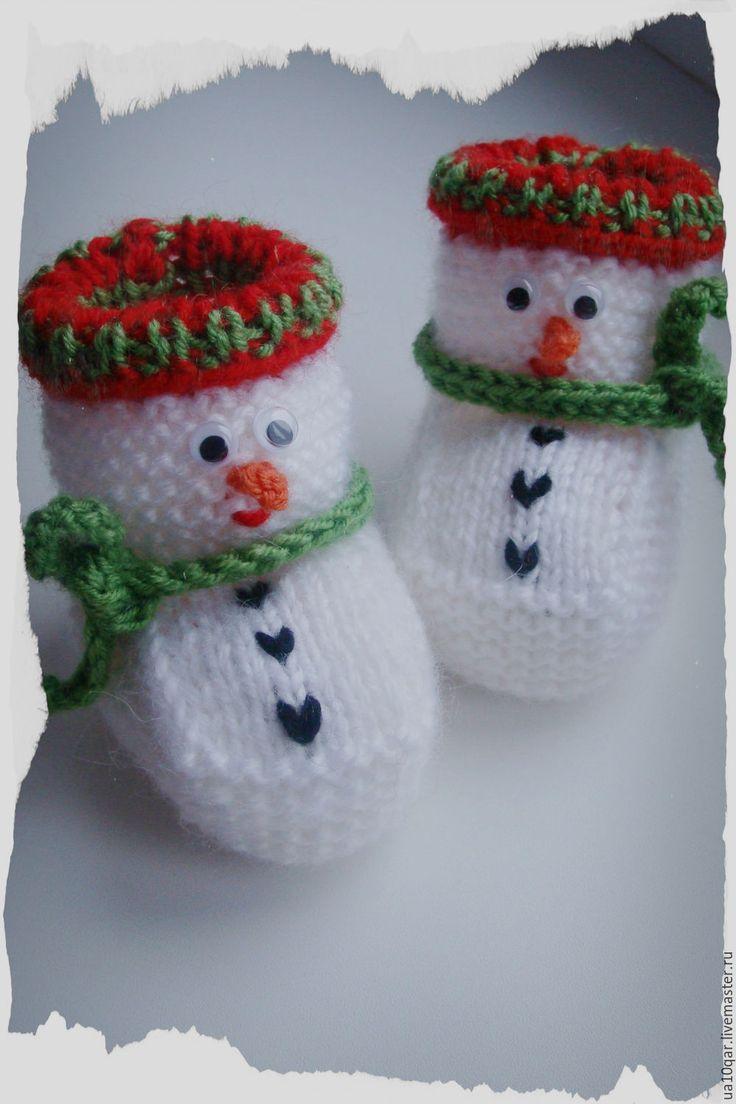 """Купить Пинетки """"Снеговички"""" - белый, пинетки, пинетки для новорожденных, пинетки в подарок, пинетки вязаные"""