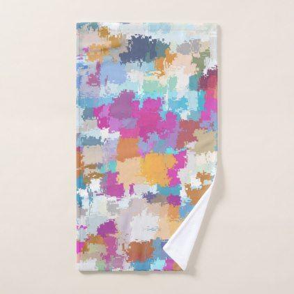 Digital Camo Blue Yellow Pink Pattern Hand Towel - chic design idea diy elegant beautiful stylish modern exclusive trendy