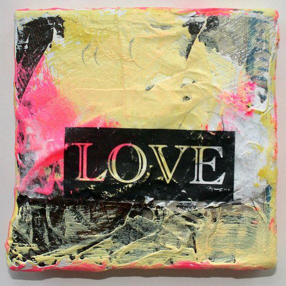yellow painting acrylic mixed media art original pink by eeliethel