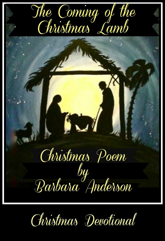 Looking for a Christmas Devotional? This poem, The Coming of the Christmas Lamb,  written by my sister, Barbara Anderson, makes a wonderful devotional for both young and old. She has given me permission to share this copyrighted poem with you. It tells the Biblical account of Jesus' birth in a wonderful way. I hope you enjoy the poem and the message it brings.