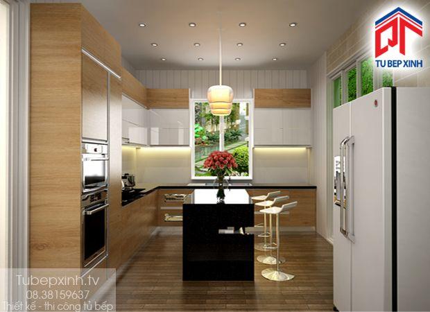Tu bep- tủ bếp hiện đại TVNV0110. Thiết kế tủ bếp hiện đại với đảo bếp sang trọng, ấn tượng. Tủ bếp TVNV0110 sử dụng chất liệu gỗ công nghiệp hiện đại, chất liệu gồm MFC và Acrylic chống ẩm, màu sắc nhã nhặn. tạo nên sự ấm áp, hiện đại và mới lạ cho phòng bếp gia đình. Để có một tủ bếp đẹp hoàn thiện như trong hình ảnh chúng tôi đưa ra cần một thời gian từ 10 đến 15 ngày bạn sẽ có được một tủ bếp như ý, độ bền cao.