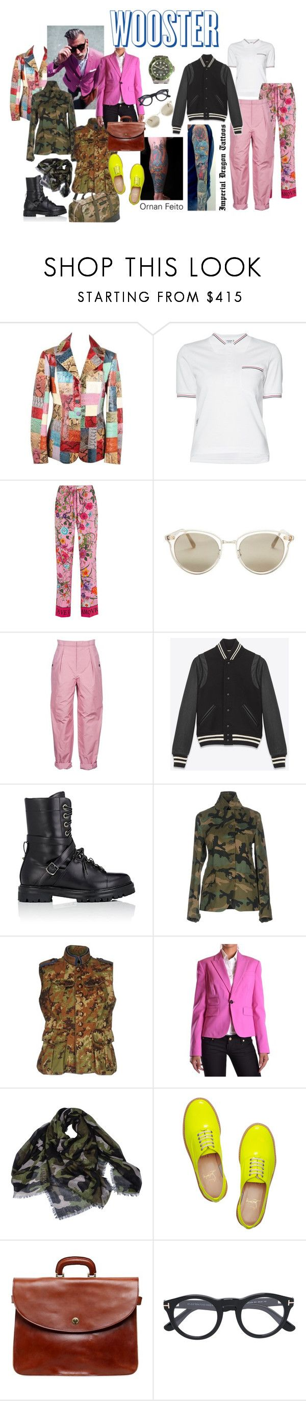 """""""Style Crush: Nick Wooster"""" by marilyn-montoto ❤ liked on Polyvore featuring Roberto Cavalli, Thom Browne, Gucci, Oliver Peoples, Bottega Veneta, Yves Saint Laurent, Valentino, Dsquared2, Christian Louboutin and Officine Creative"""