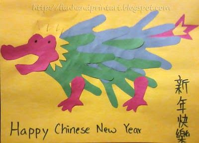 Handprint dragon for Chinese New Year