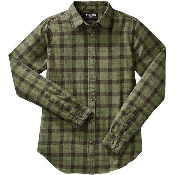 Filson Lightweight Alaskan Guide Shirt Women's (110 AUD) ❤ liked on Polyvore featuring tops, green flannel shirt, green top, light weight shirts, filson shirts and filson
