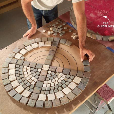 diy: outdoor table with tile top...