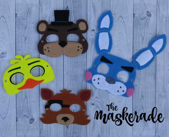 Five Nights at Freddy's - Freddy Fazbear, Bonnie, Chica, Foxy - FNAF - Inspired Felt Mask Party Favor, Dress Up, Imagination, Play, Costume