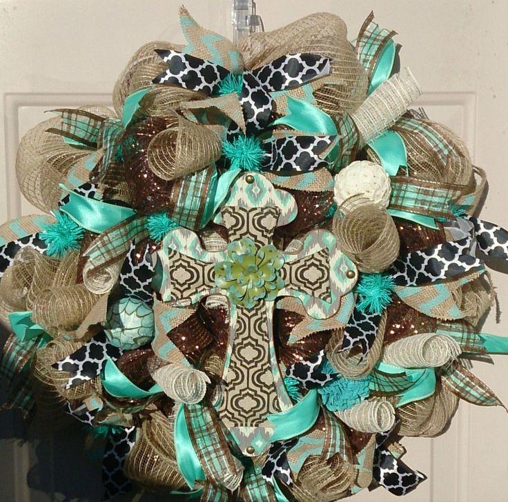 Cross Religious Wreath, Deco Mesh Cross Wreath, Religious Everyday Wreath, Front Door Wreath, Wooden Cross Wreath, Burlap Cross Wreath by LakeCountryTreasure on Etsy