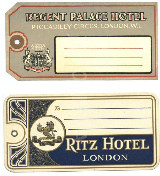 Hotel luggage labels, London 1930's.