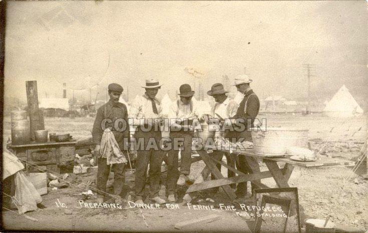Preparing Dinner for Fernie Fire Refugees, Fernie, BC, 1908