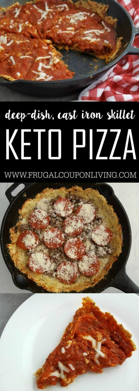 Love pizza? Take a look at this Ketogenic dinner idea! A Keto Pizza Recipe. A keto-recipe that is a family favorite deep dish pizza in a cast iron skillet, Recipe on Frugal Coupon Living. #recipes #keto #ketogenic #ketogenicdiet #ketodiet #ketorecipes #pizzatime #pizzaparty #pizzanight #pizza #pizzarecipes #ketorecipes
