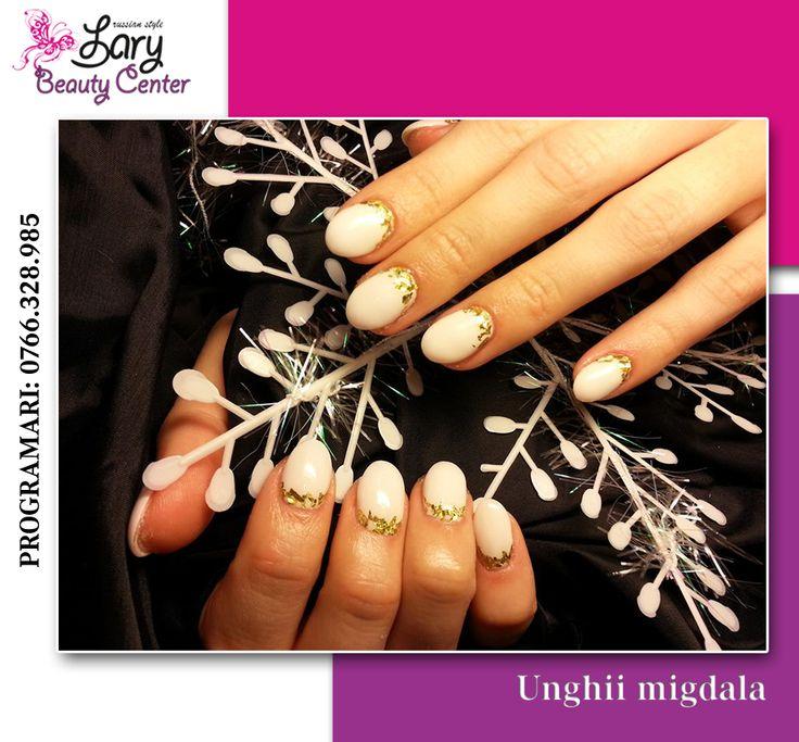 white nails for Christmas http://www.larybeautycenter.ro/servicii/unghii-cu-gel-sau-acryl