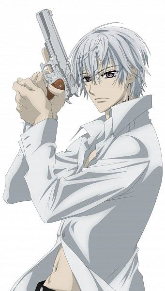 "Zero Kiryu from ""Vampire Knight"".  He's looking bad ass with that gun!"
