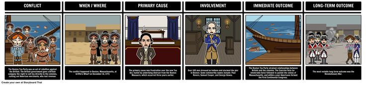US History - Boston Tea Party: When teaching a unit on the Boston Tea Party, have students storyboard its important information and implications, including the outcomes of the armistice, defeat, or victory.
