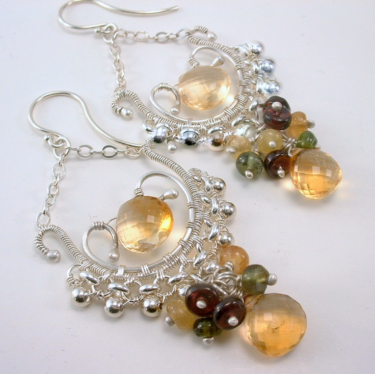 Champaign Quartz, Tourmaline and Garnet Wire wrapped earrings made by Hart To Hart Jewellery. I think I prefer them on the white background.