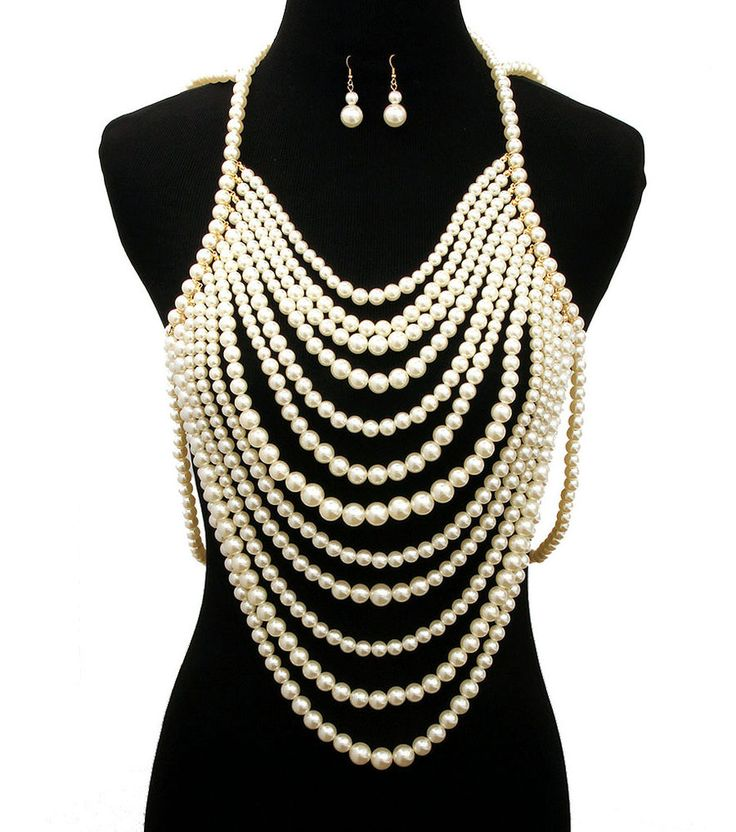 12 Multi Layer Pearl Necklace Set Pearl Body Chain Necklace and Earrings Set #WiseJewels