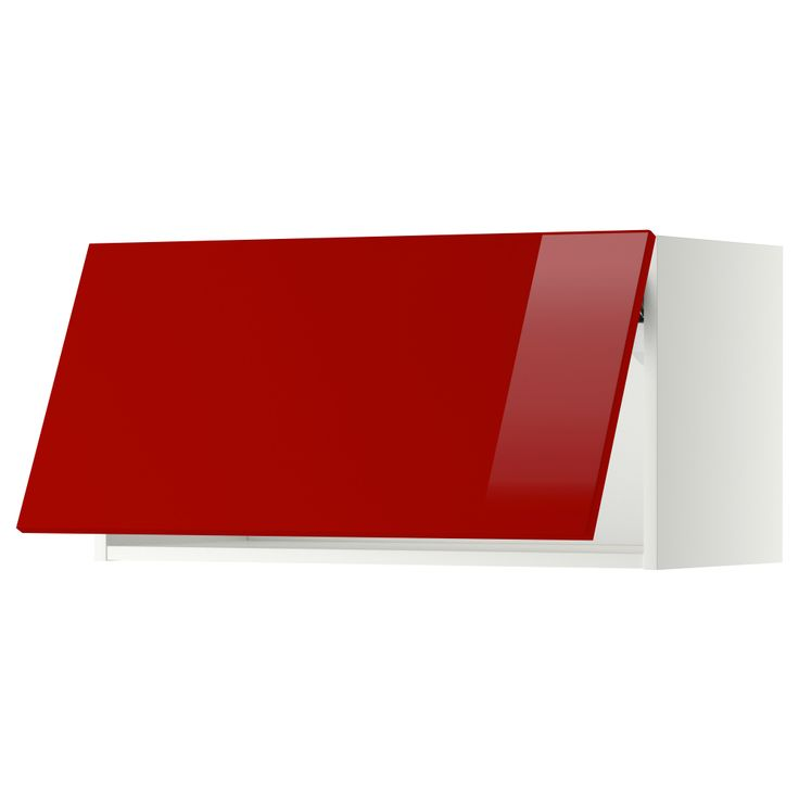 Metod wall cabinet horizontal white ringhult high gloss for White gloss kitchen wall cupboards
