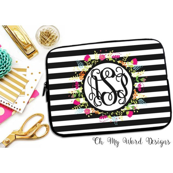 Laptop Sleeve-Stripes and Flowers Laptop Sleeve-Laptop Sleeve-Neoprene... ($28) ❤ liked on Polyvore featuring accessories, tech accessories, home & living, office, office & school supplies, silver, neoprene laptop case, laptop sleeve cases, laptop case and monogrammed laptop case