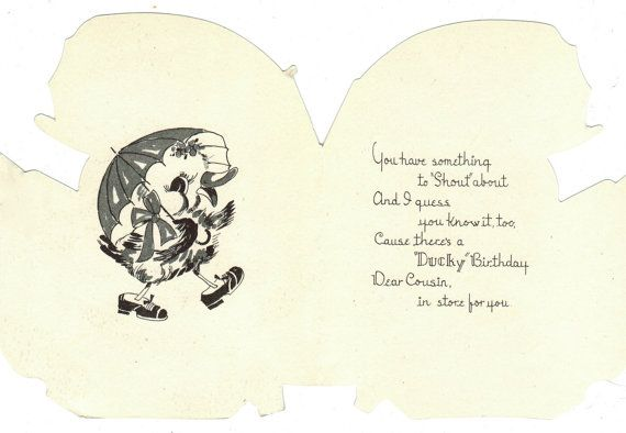 Vintage 1940s era UNUSED UNSIGNED Birthday Card. Baby Duckling Under Yellow Umbrella Delivers Happy Birthday Greeting Card for Cousin. Colorful die cut graphics with inside birthday verse greetings. Card measures 5 x 4.