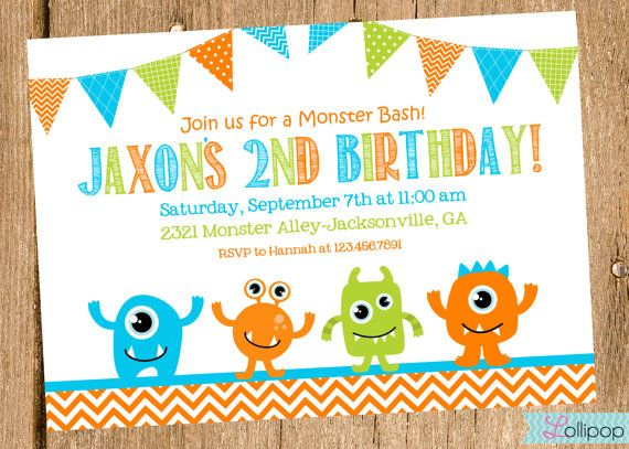 NEW Monster Bash Printable Invite, Personalized Monster Invitation, Printable Monster Bash Invitation on Etsy, $13.50