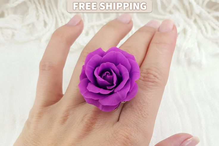 Polymer Clay Rose Ring «Magenta Rose» Flower, Polymer Clay Jewelry Purple Rose Ring Polymer Clay, Valentine's Day Gift by SweetyBijou on Etsy