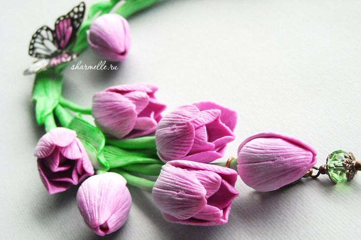 Авторские украшения с тюльпанами из термопластики