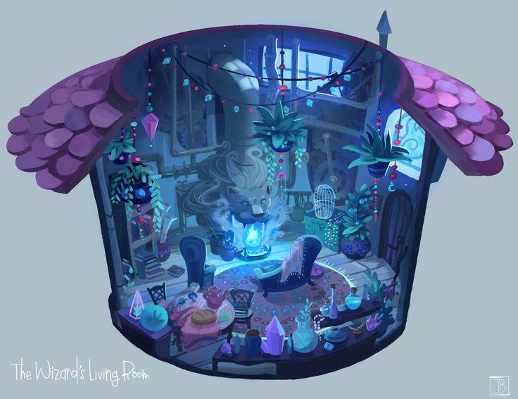 The Wizard's Living Room, Julia Blattman on ArtStation at https://www.artstation.com/artwork/Z03YX