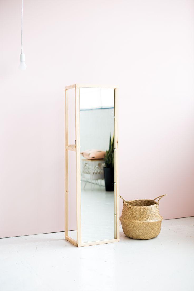 DIY Wooden Floor Standing Mirror with the most Useful Shelf