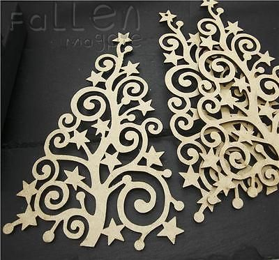Wooden Tall Christmas Tree Shapes Fretwork Family Decorations Decopage Craft