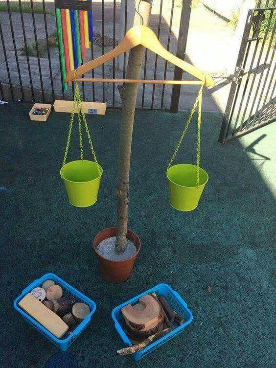 Hier neme je allemaal voorwerpen zowel lichte als zwaardere voorwerpen de kinderen kunnen de voorwerpen dan in de emmers leggen die aan de kapstok hangen dit geeft het effect van een weegschaal.