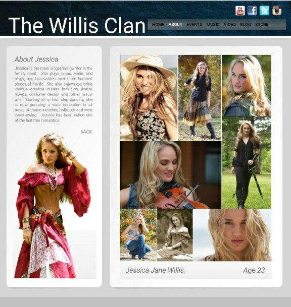 The Willis Clan - child #1 Jessica Jane, age 23:  singer/songwriter, violin, piano.  Love her voice!!  Is also skilled in various styles of dance. | pin created from a Willis family website