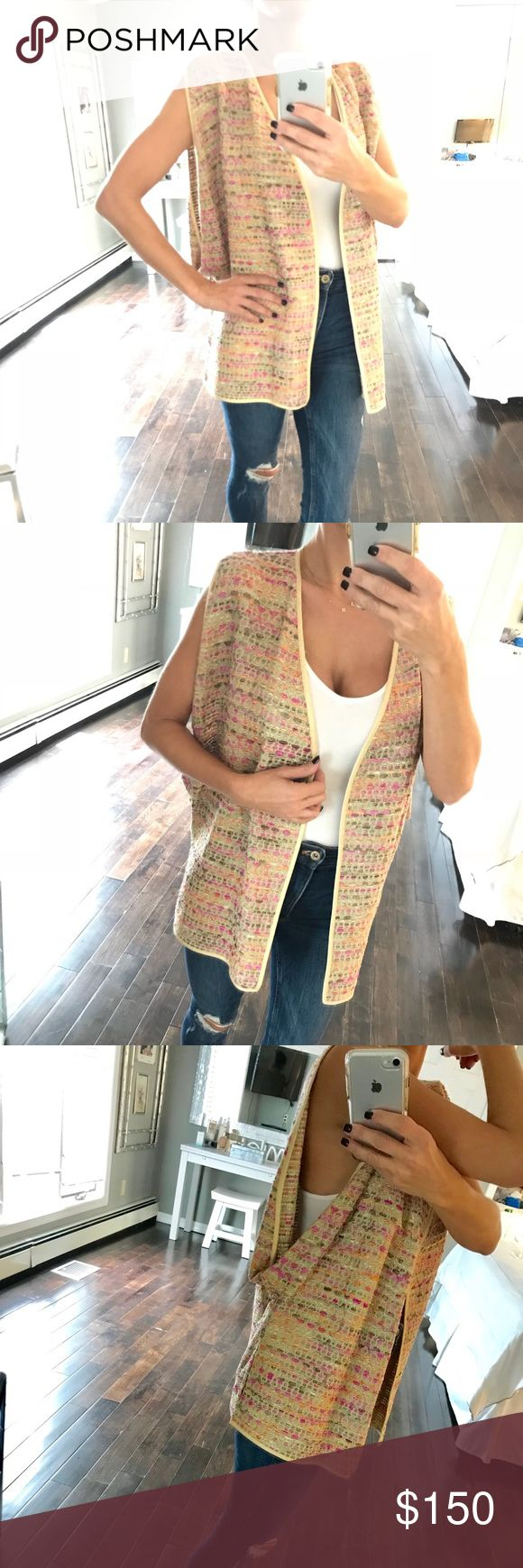 """$450 NWT Diane Von Furstenberg multi color vest P NWT retail is $450 I paid $250 Stunning multi color vest  Wide arm openings Fits XS Small and Medium in my opinion Tag say size P for petite  Model is 5'2"""" tall Diane Von Furstenberg Jackets & Coats Vests"""