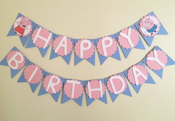 This Listing is for a Peppa Pig Happy Birthday Banner made with high quality…