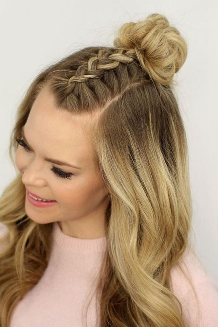 Trend Watch Mohawk Braid Into Top Knot Half Up Hairstyles Braids For Short Hair Short Hair Styles Concert Hairstyles