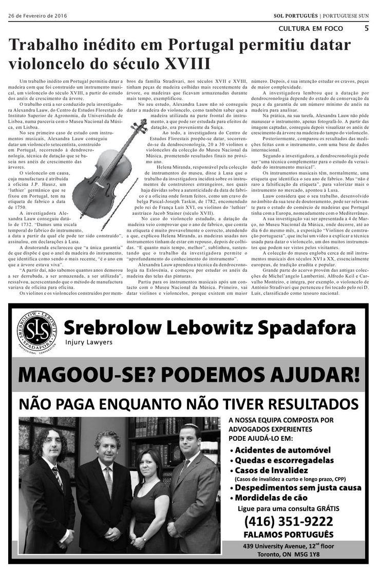 Notícia sobre a parceria CEF / Museu da Música publicada no Jornal Sol Português, uma publicação de língua portuguesa no Canadá - Edição de 26 de Fevereiro 2016
