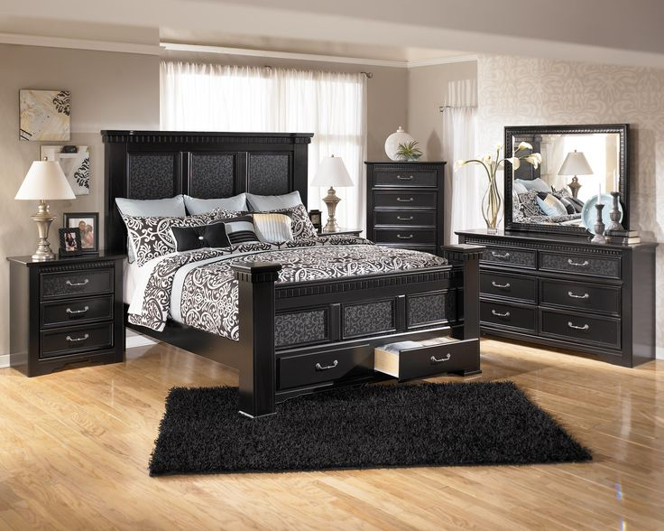 Cavallino King Mansion Poster Bed With Storage Footboard By Signature Design By Ashley Furniture Black Bedroom