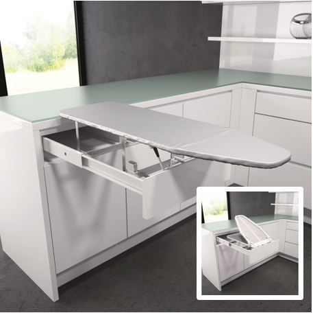An ironing board that's always at the ready! Vauth-Sagel's pull out folding ironing board is installed into your cabinet drawer. It folds out, lifts and rests on your counter top, thus saving space without compromising practicality, quality or comfort. Comes with a heat resistant fabric cover, which can be purchased separately when needed. Imagine this beauty installed in your kitchen, laundry or craft room!