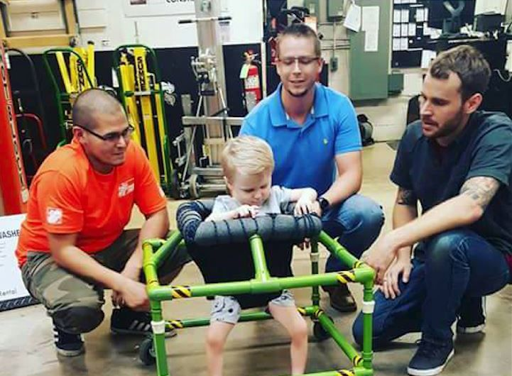 Home Depot workers build customized walker for blind 2-year-old with rare…