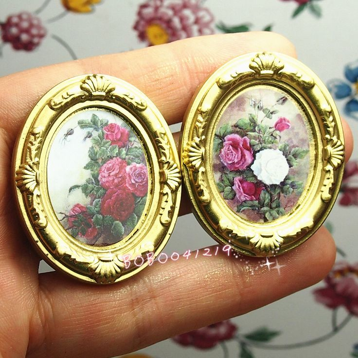 Find More Doll Houses Information about Dollhouse Miniature 1:12 Toy 2 Gold Oval Frames Flowers Length 4cm EM6G,High Quality flower station,China frame women Suppliers, Cheap flower stone from bobo's mini world ^-^ on Aliexpress.com