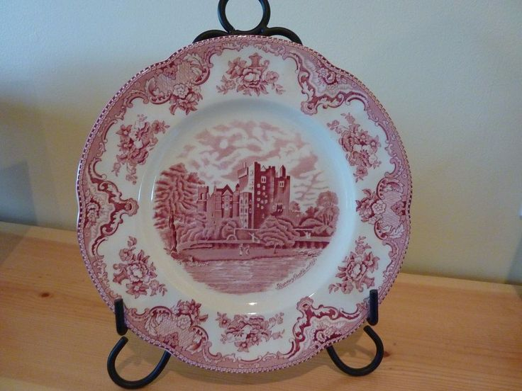 JOHNSON BROTHERS ENGLAND OLD BRITAIN CASTLES SCALLOPED PINK DINNER PLATE~EUC #JOHNSONBROTHERS