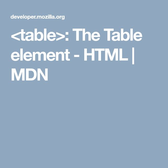 <table>: The Table element - HTML   MDN
