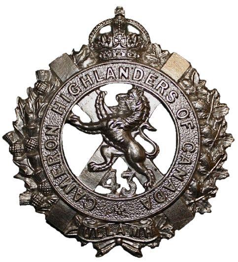 "CEF - Cap Badge - 43rd Canadian Infantry Battalion -  ""Cameron Highlanders of Canada"" - Winnipeg, Manitoba. WW1."