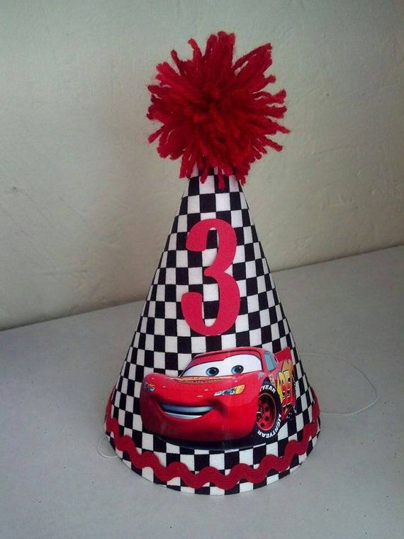 Lightning McQueen checkered flag 1st birthday or any age party hat party supplies