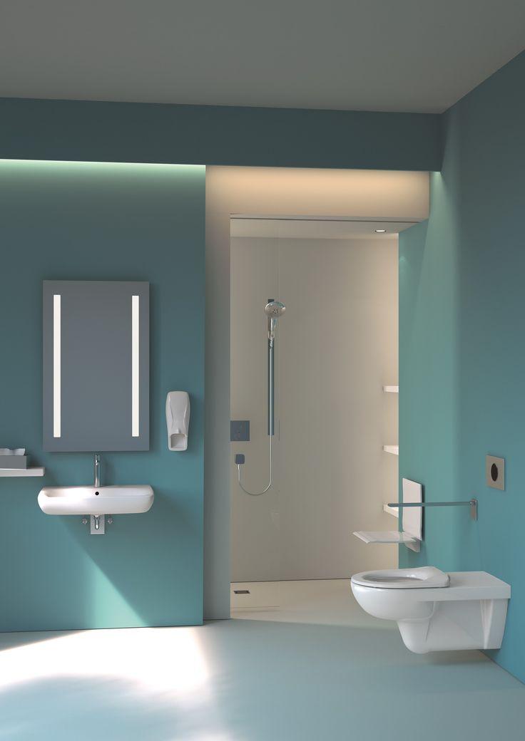 Cette salle de bains est adaptée aux personnes à mobilité réduite. La douche de plain-pied est dépourvue de rebord et le lavabo dispose d'un siphon spécial pour un accès simplifié à l'espace. ••• Deze badkamer is volledig aangepast voor personen met een beperkte mobiliteit. De inloopdouche heeft geen drempel en de lavabo in uitgerust met een speciale sifon zodat je je gemakkelijk met een rolstoel in de ruimte kan bewegen. De handgreep naast het hangtoilet is heel eenvoudig in hoogte…