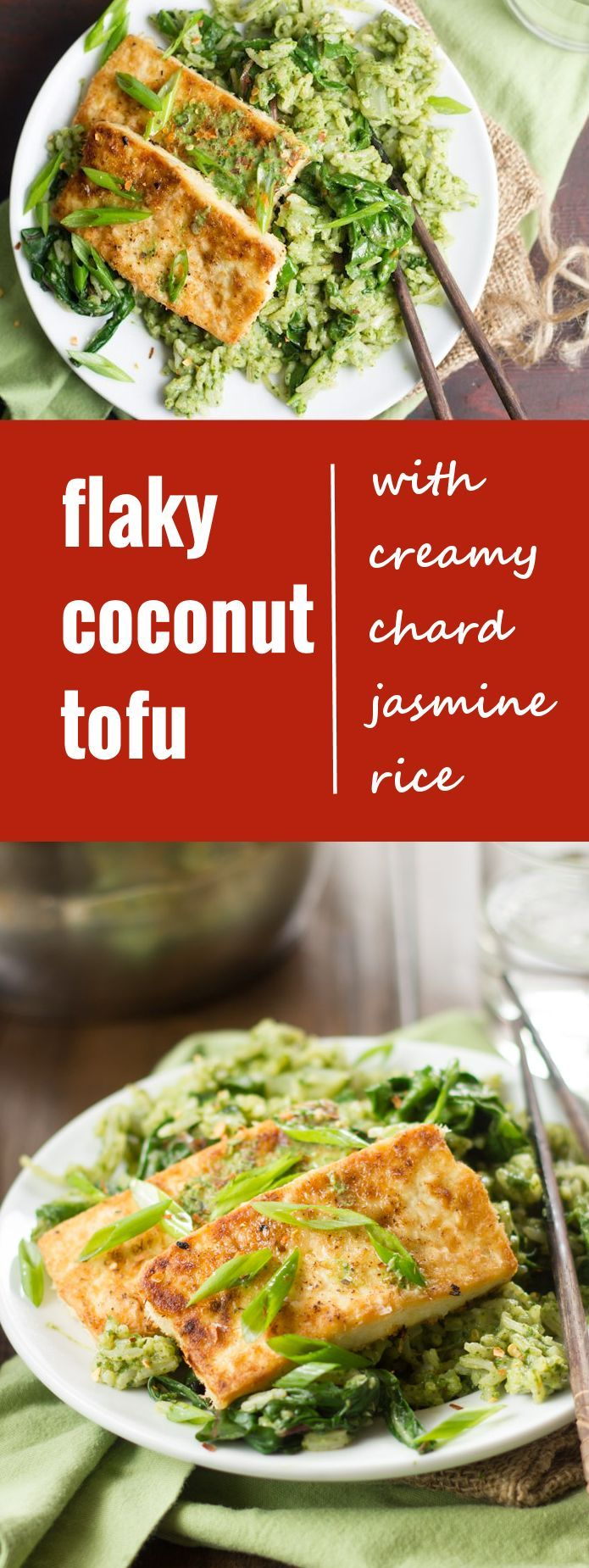 This flaky coconut tofu is made with tofu slabs coated in shredded coconut, pan-fried and served over jasmine rice in creamy coconut milk-chard sauce.