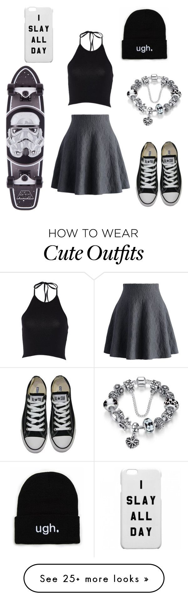 """""""cute skater outfit!"""" by alexiswalter-1 on Polyvore featuring Chicwish and Converse"""