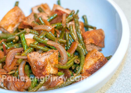 Adobong Sitaw with Tofu is another version of Adobong Sitaw, this time it is cooked with fried extra firm tofu. Adobong Sitaw is a Filipino vegetable dish